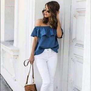 Blue chambray off the shoulder ruffle blouse top